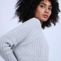 Pull géométrique ample en laine & alpaga - Safir 6612 gris clair - 11 Gris clair