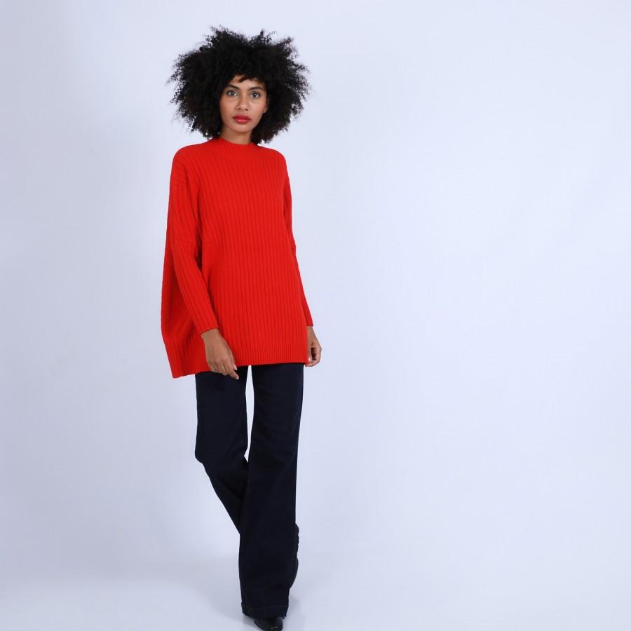 Pull géométrique ample en laine & alpaga - Safir 6680 ecarlate - 52 Rouge