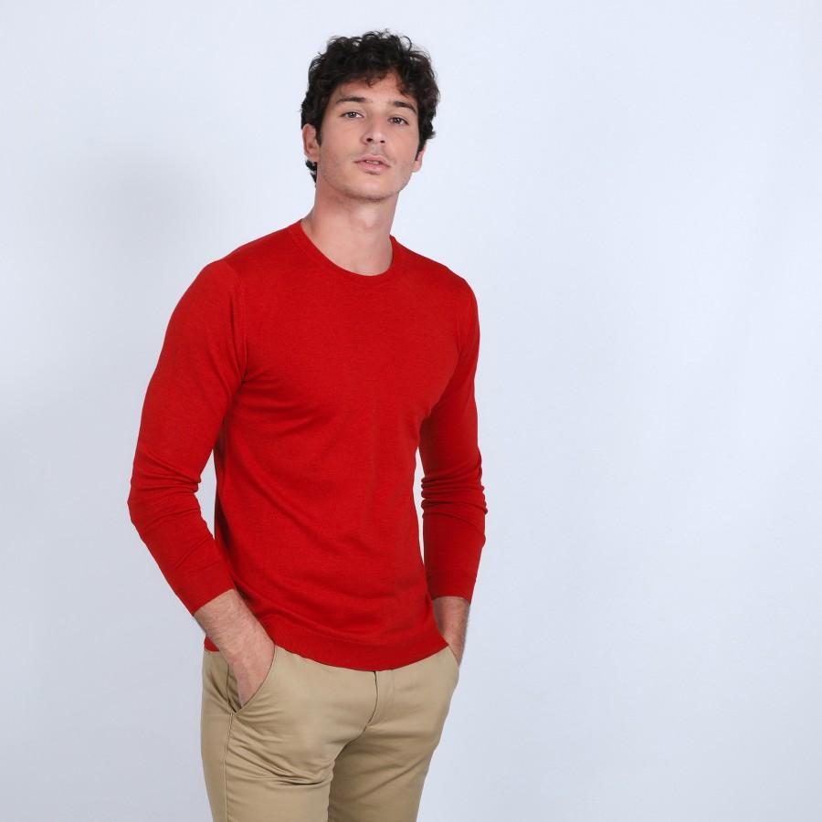 Pull col rond en laine et soie - Barsam 6681 rouge - 52 rouge corrigé