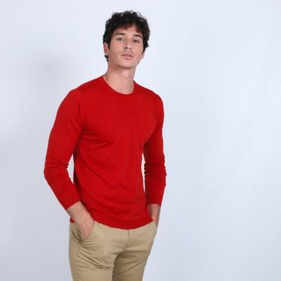 Round-neck jumper in wool and silk - Barsam