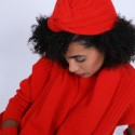 Bonnet turban en laine & alpaga - Samuel 6680 ecarlate - 52 Rouge