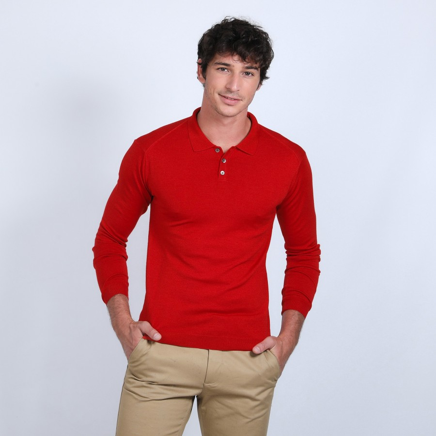 Pull col polo en laine et soie - Bartev 6681 rouge - 52 rouge corrige