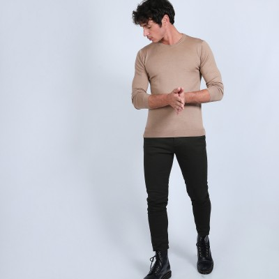 Round-neck jumper in wool and silk - Barsam