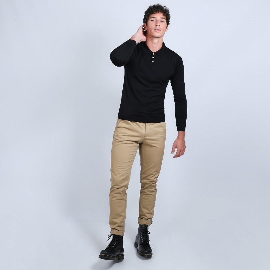 Pull col polo en laine et soie - Bartev 6610 noir - 01 noir
