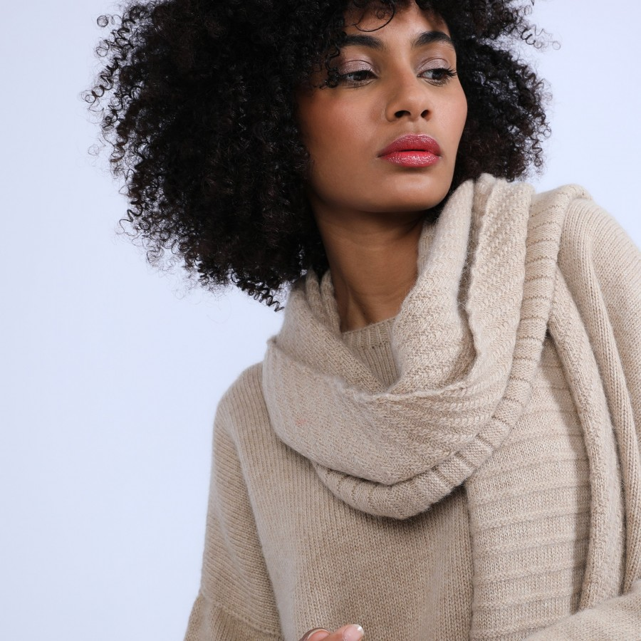 Echarpe en laine & alpaga - Sanela 6620 greige - 13 Beige moyen