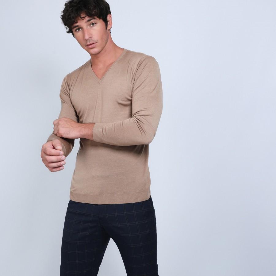 Pull col V en laine et soie - Basil 6630 camel - 88 camel