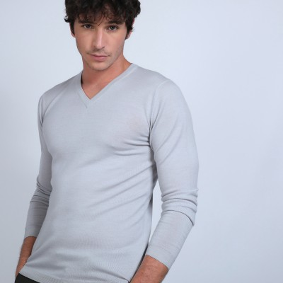 V-neck jumper in merino wool - Badyss