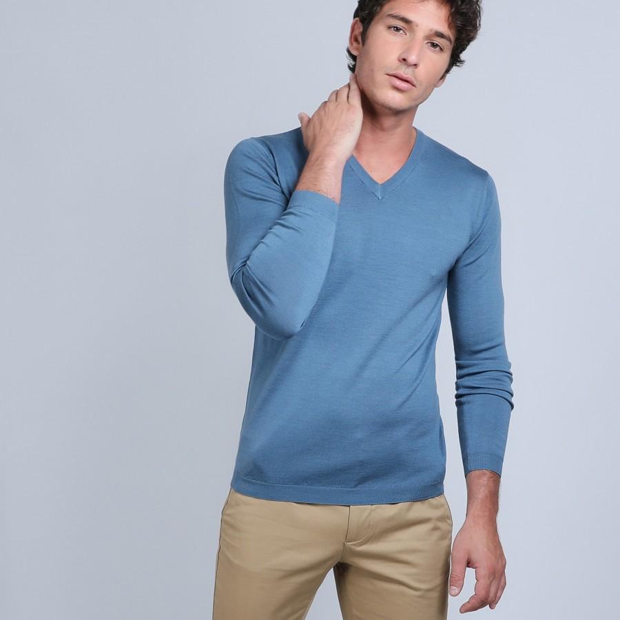 Pull col V en laine mérinos - Badyss 6641 crique - 06 bleu moyen