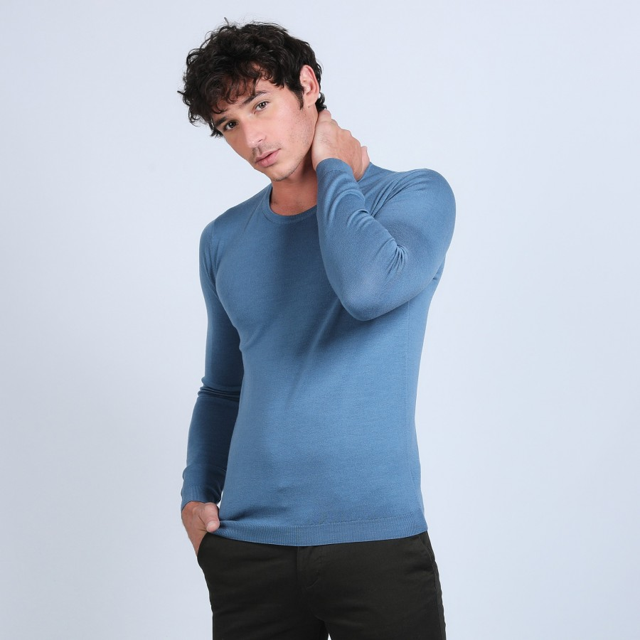 Pull col rond en laine mérinos - Bardem 6641 crique - 06 bleu moyen