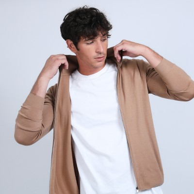 Zipped merino wool cardigan - Bastian
