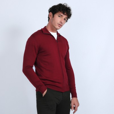 Zipped merino wool cardigan - Bastian