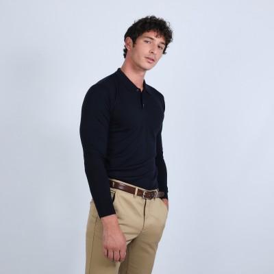 Jumper with polo shirt collar in merino wool - Beni