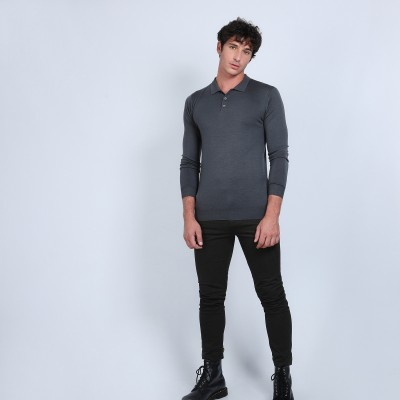 Jumper with polo shirt collar in merino wool - Beni