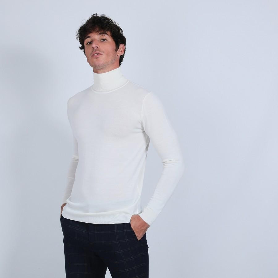 Pull col roulé en laine mérinos - Berry 6600 blanc - 02 Blanc