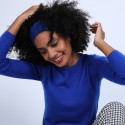 Bandeau cache oreilles en laine & alpaga - Shira 6644 iris - 03 Bleu foncé