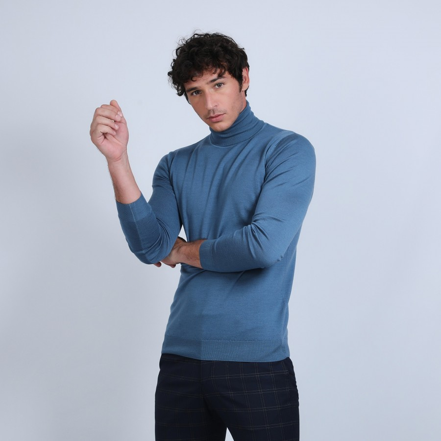 Pull col roulé en laine mérinos - Berry 6641 crique - 06 bleu moyen