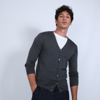 Button-down cardigan in merino wool - Brad