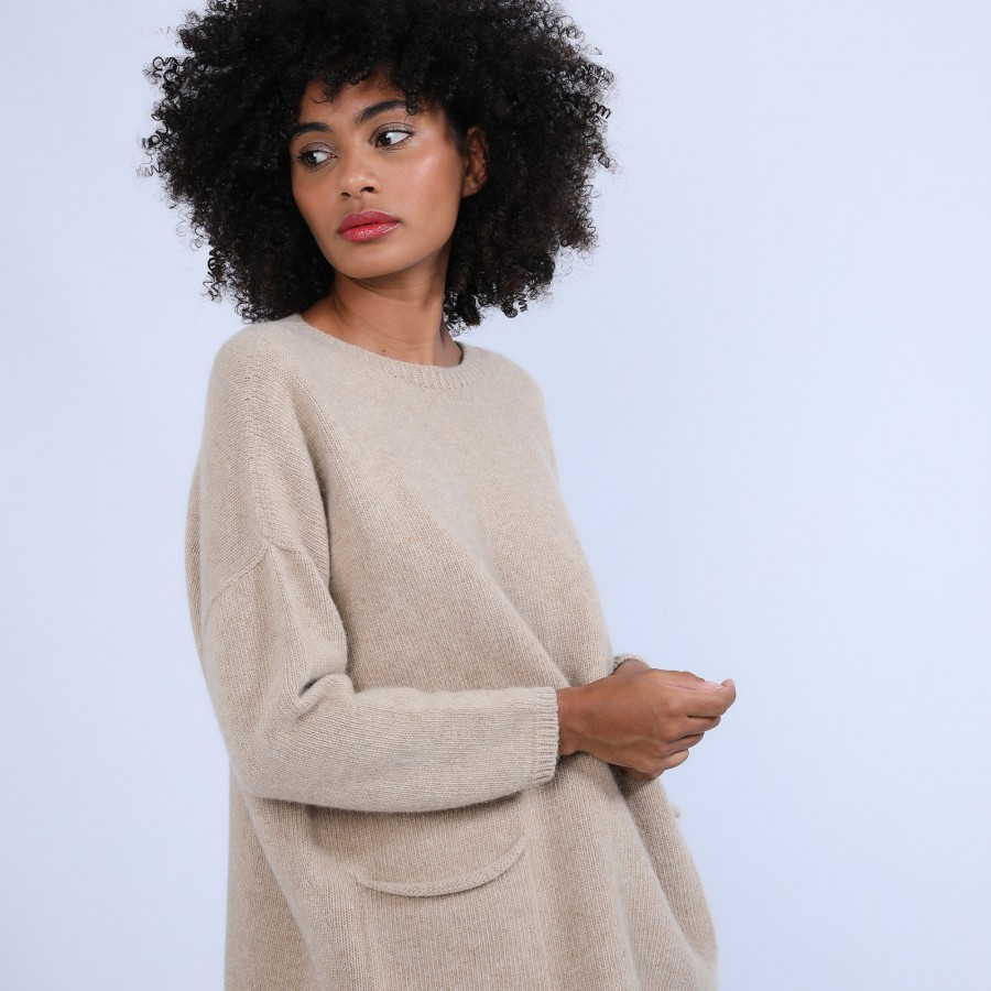 Pull ample avec poches en laine & alpaga - Stan 6620 greige - 13 Beige moyen
