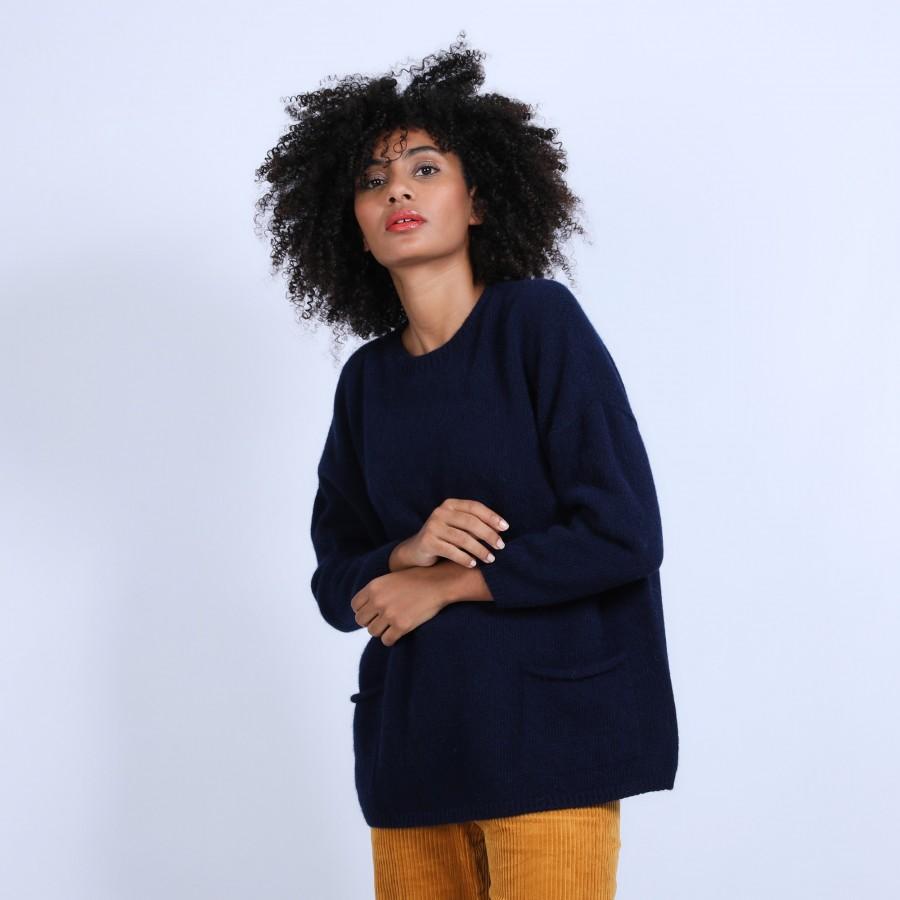 Pull ample avec poches en laine & alpaga - Stan 6640 marine - 05 Bleu marine