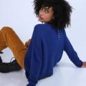 Pull ample avec poches en laine & alpaga - Stan 6644 iris - 03 Bleu foncé