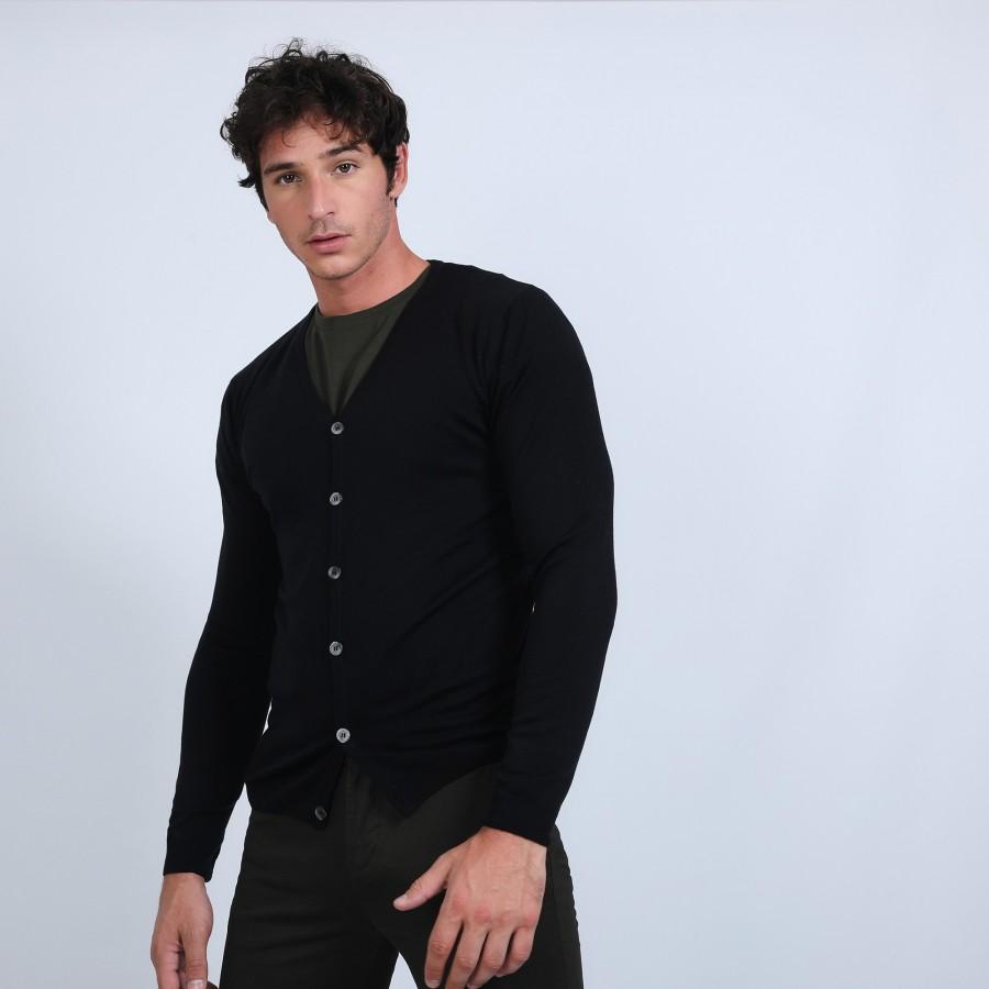 Gilet boutonné en laine mérinos - Brad 6610 noir - 01 noir