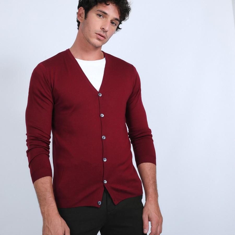 Gilet boutonné en laine mérinos - Brad 6681 rouge - 51 bordeaux