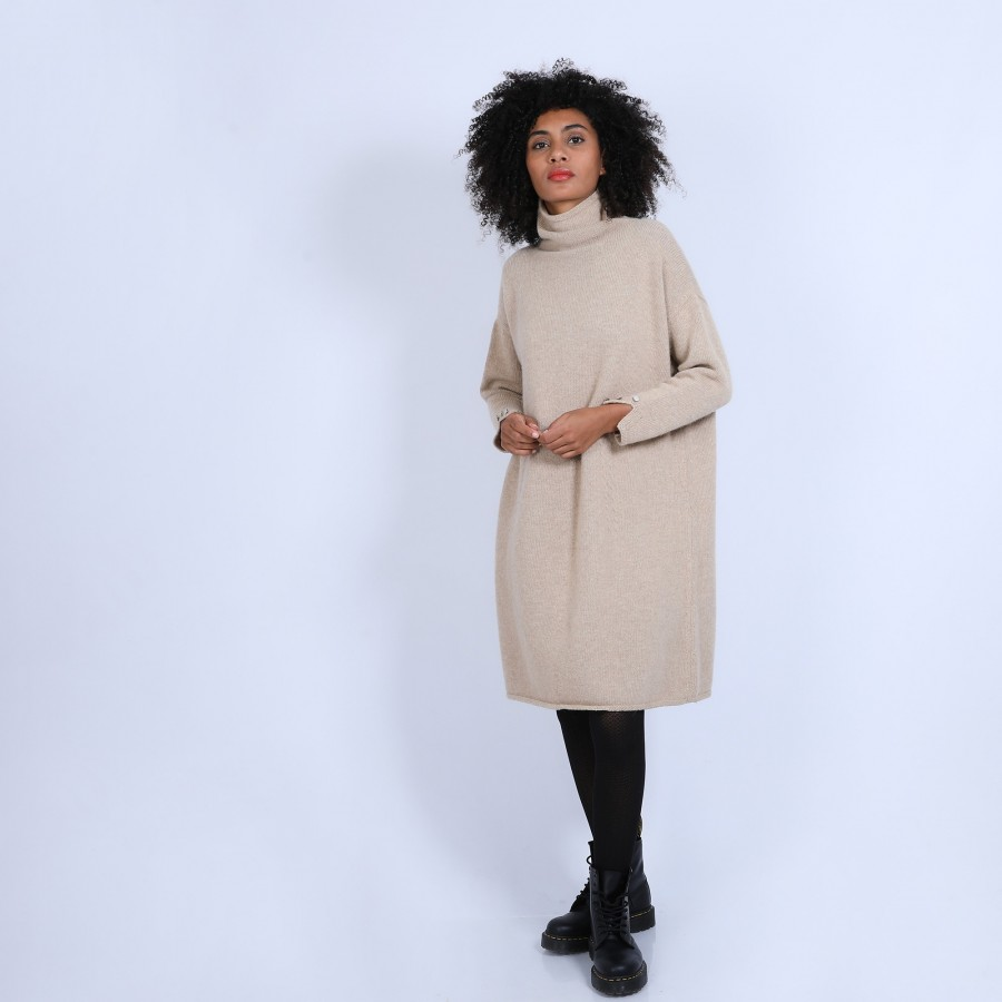 Robe col montant en laine & alpaga - Sue 6620 greige - 13 Beige moyen