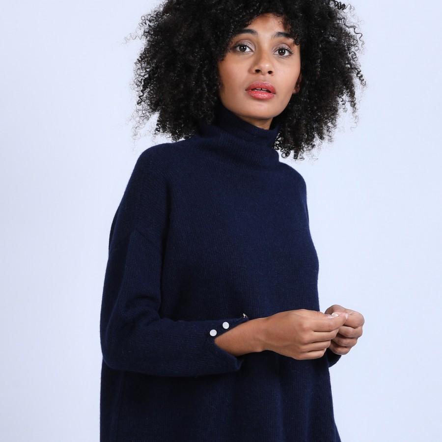 Robe col montant en laine & alpaga - Sue 6640 marine - 05 Bleu marine