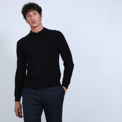 Jumper with polo collar in cashmere - Billy