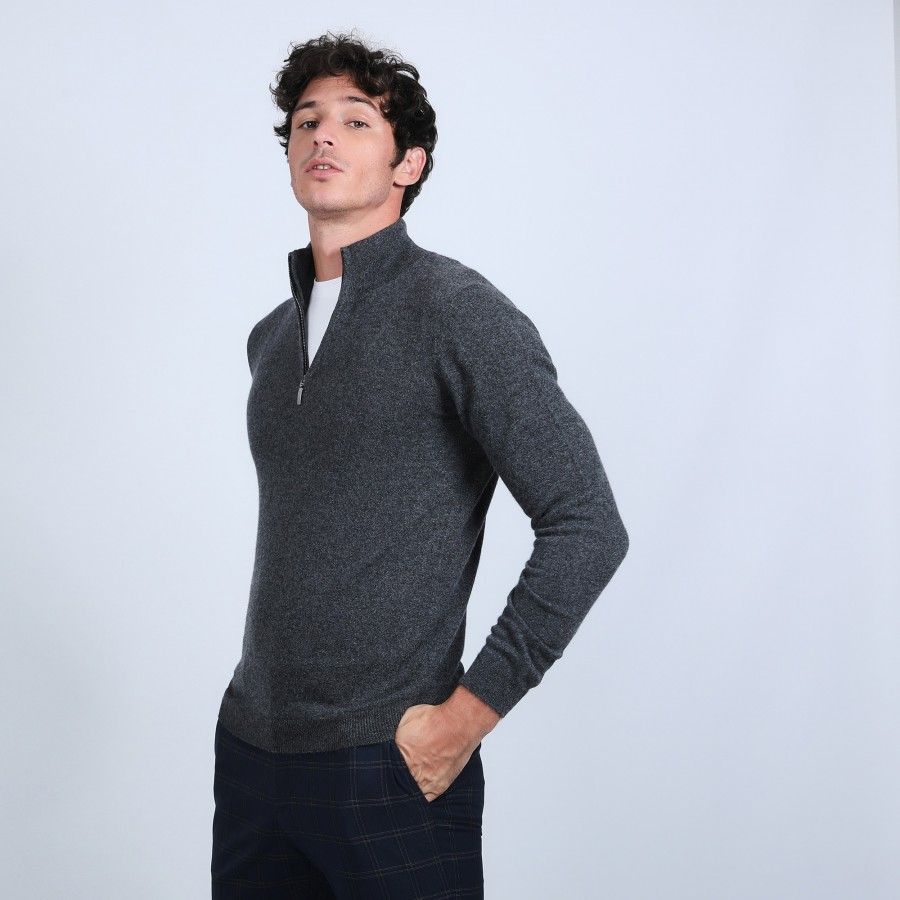 Cashmere zip-up 2-ply jumper - Blaise