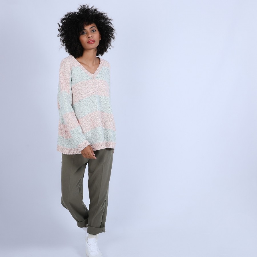 Pull oversize bicolore - Susette 6776 ecarlate/emeraude - 23 Vert clair