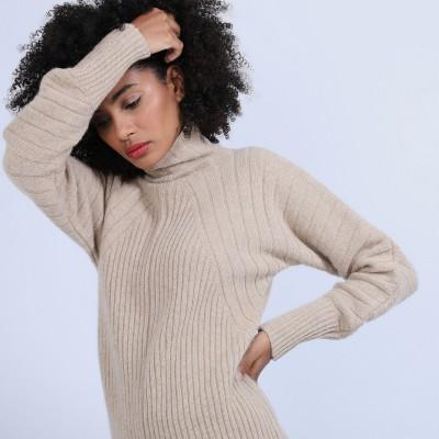 Pull col montant en laine & alpaga - Syllia