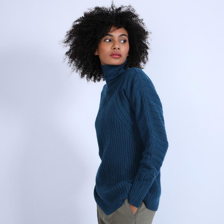 Pull col montant en laine & alpaga - Syllia 6641 crique - 84 Bleu pétrole