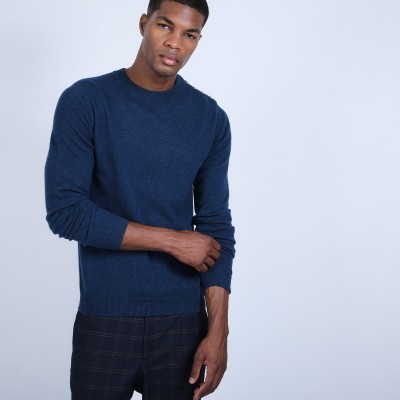 Button shoulder 4-ply cashmere jumper - Bonifas