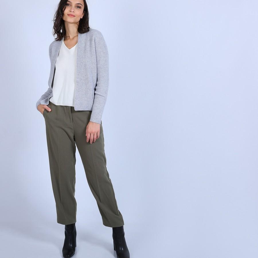 Gilet avec poches en cachemire - Basma 6612 gris clair - 11 Gris clair