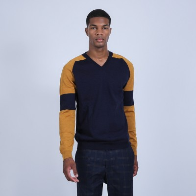 Two-tone V-neck woollen jumper - Ruben