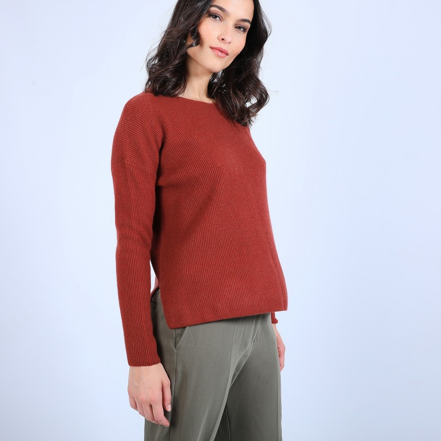 Pull col rond boutons arrière - Becky 6682 tomette - 46 Marron clair