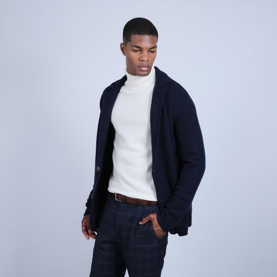 Veste blazer en cachemire - Ronce 6640 marine - 05 bleu marine