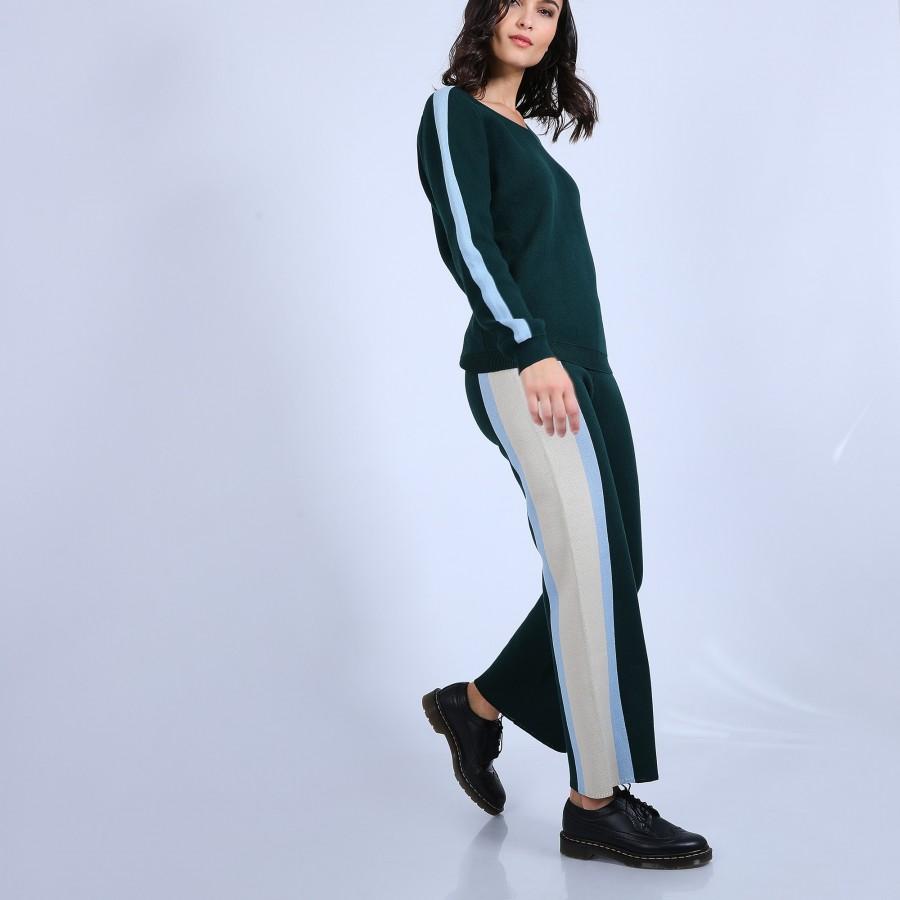 Pantalon sporty en coton cachemire - Palmyre 6715 emeraude/bleu ciel/ecru - 21 Vert foncé