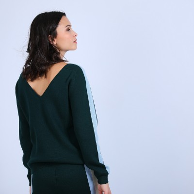 V-neck back jumper in cotton cashmere - Pandore
