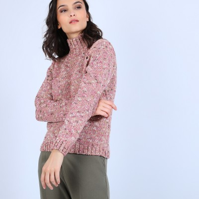 High-neck marled wool jumper - Papyrus