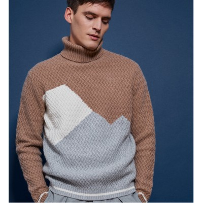 Roll-neck triple-tone cashmere jumper - Rapière
