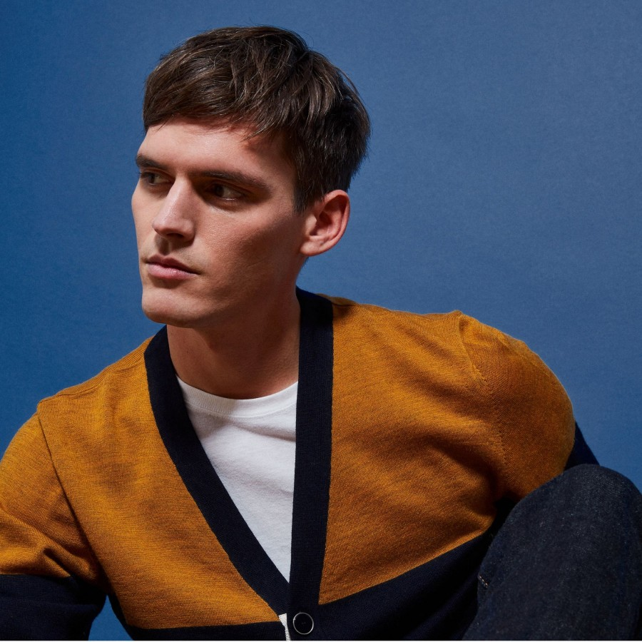 Two-tone merino wool cardigan - Retine