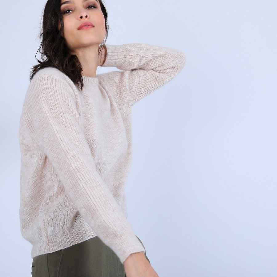 Pull col rond en mohair - Perla 6600 blanc - 12 Beige clair