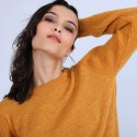 Pull col rond en mohair - Perla 6660 cannelle - 89 Moutarde