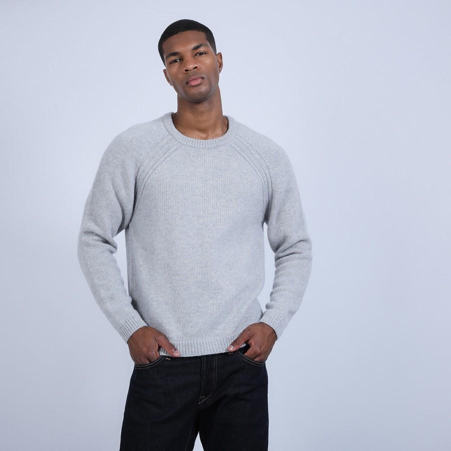 Pull col rond en laine et alpaga - Ring 6612 gris clair - 11 gris clair