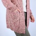 Long gilet en laine chiné - Précieux 6736 buvard - 25 Rose moyen
