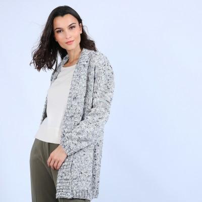 Long gilet en laine chiné - Précieux