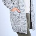 Long gilet en laine chiné - Précieux 6738 gris - 11 Gris clair