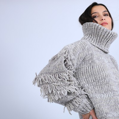 Jumper with large fringed roll neck - Sage